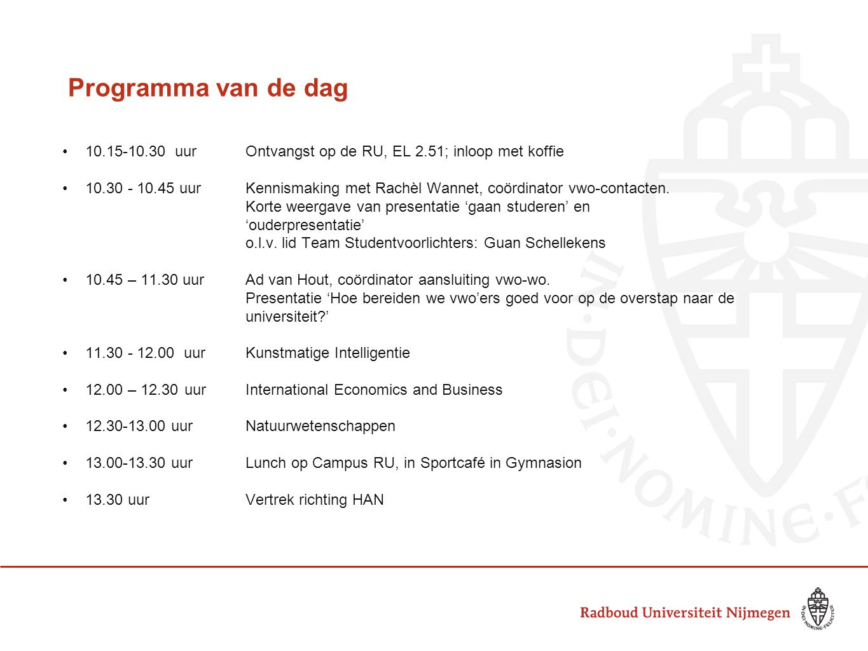 Programma van de dag 10.15-10.30 uur Ontvangst op de RU, EL 2.51; inloop met koffie.
