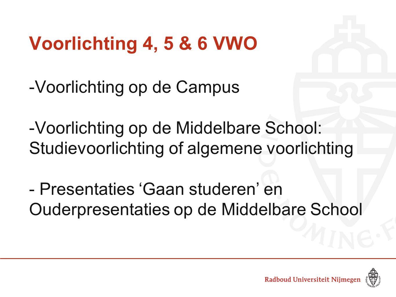 Voorlichting 4, 5 & 6 VWO Voorlichting op de Campus
