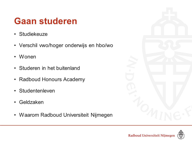 Gaan studeren Studiekeuze Verschil vwo/hoger onderwijs en hbo/wo Wonen