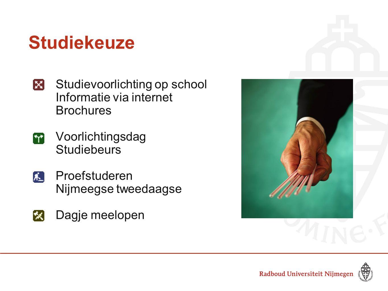 Studiekeuze Studievoorlichting op school Informatie via internet