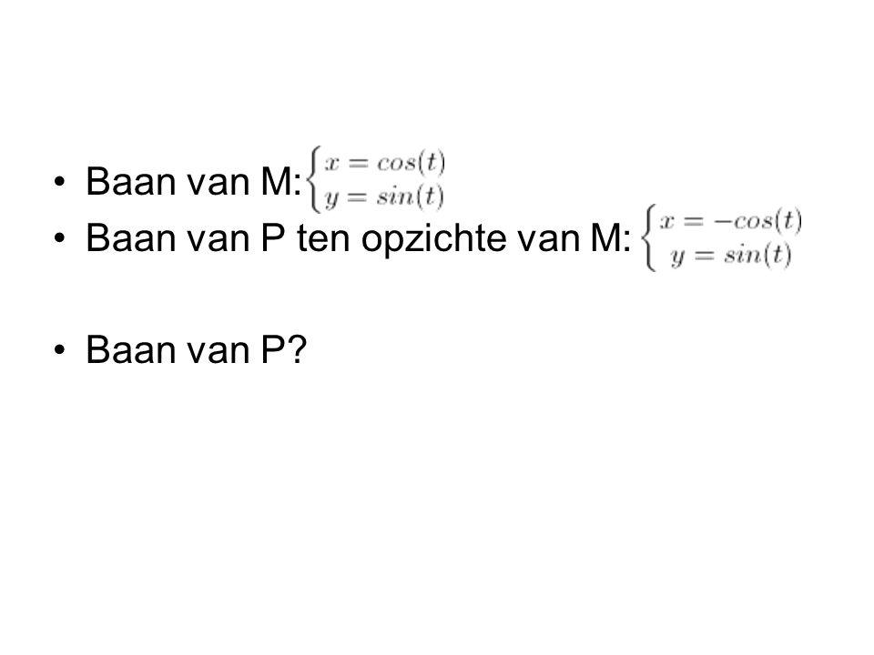 Baan van M: Baan van P ten opzichte van M: Baan van P