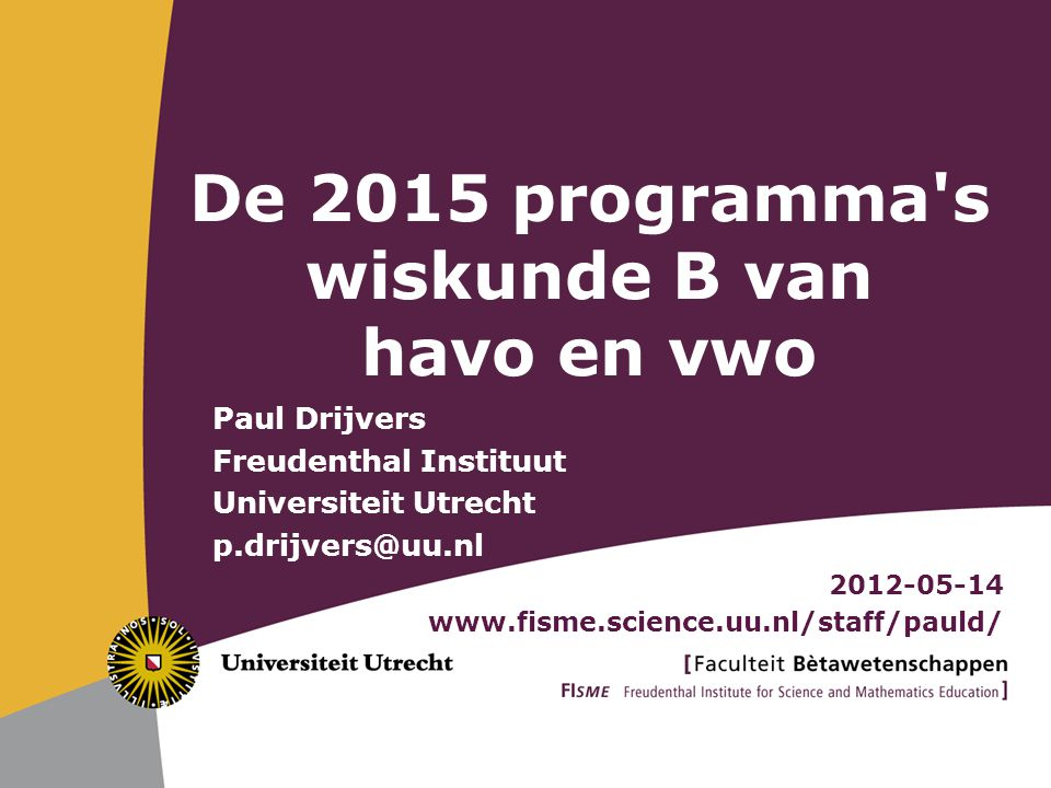 De 2015 programma s wiskunde B van havo en vwo