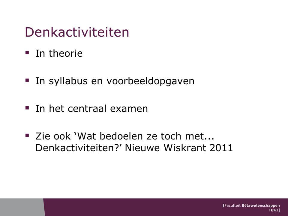 Denkactiviteiten In theorie In syllabus en voorbeeldopgaven