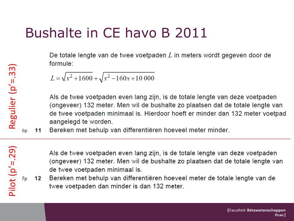 Bushalte in CE havo B 2011 Regulier (p'=.33) Pilot (p'=.29)