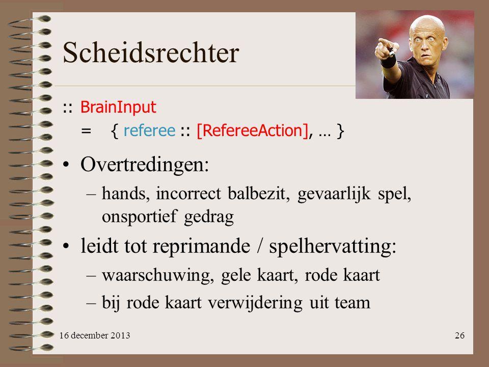 Scheidsrechter Overtredingen: leidt tot reprimande / spelhervatting: