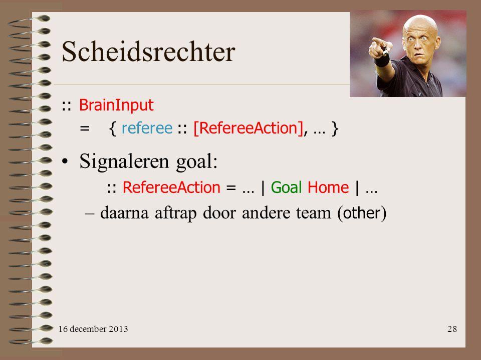 Scheidsrechter Signaleren goal: daarna aftrap door andere team (other)