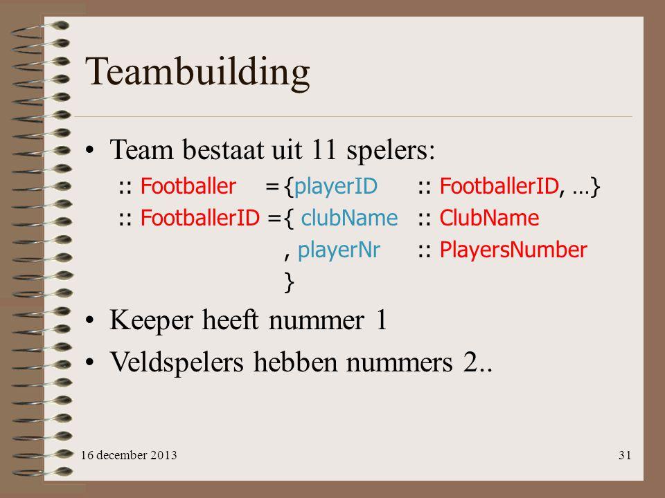 Teambuilding Team bestaat uit 11 spelers: Keeper heeft nummer 1
