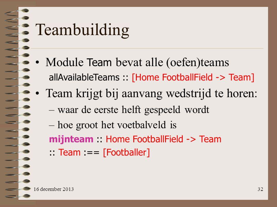 Teambuilding Module Team bevat alle (oefen)teams
