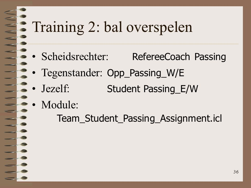 Training 2: bal overspelen