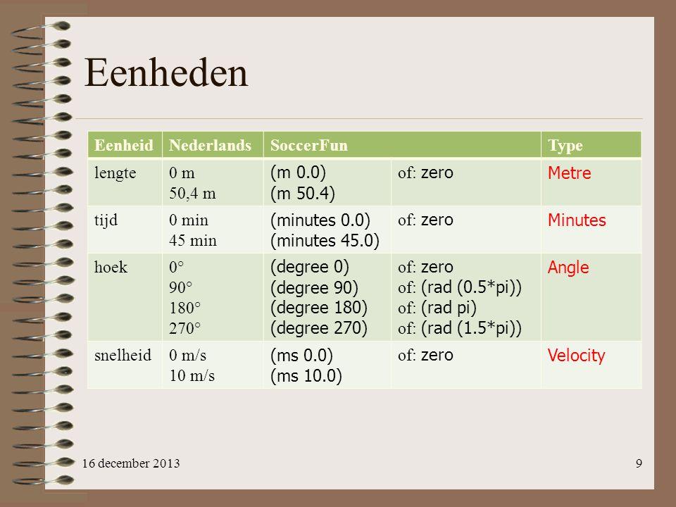 Eenheden Eenheid Nederlands SoccerFun Type lengte 0 m 50,4 m (m 0.0)