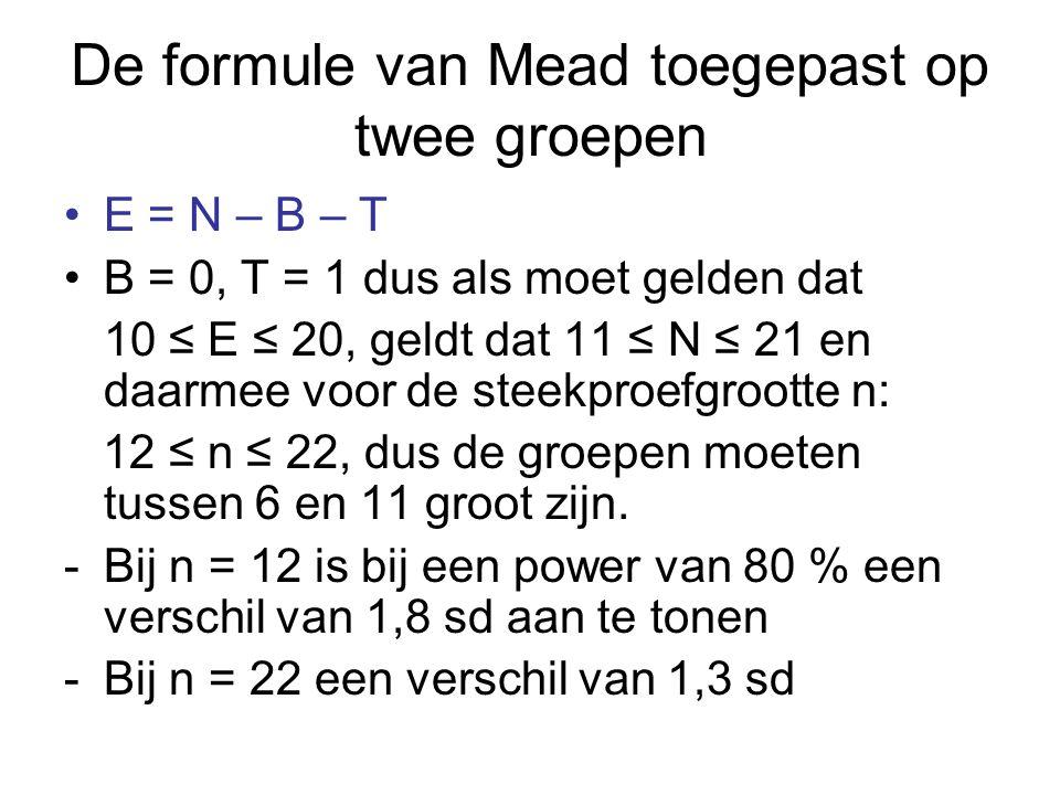 De formule van Mead toegepast op twee groepen