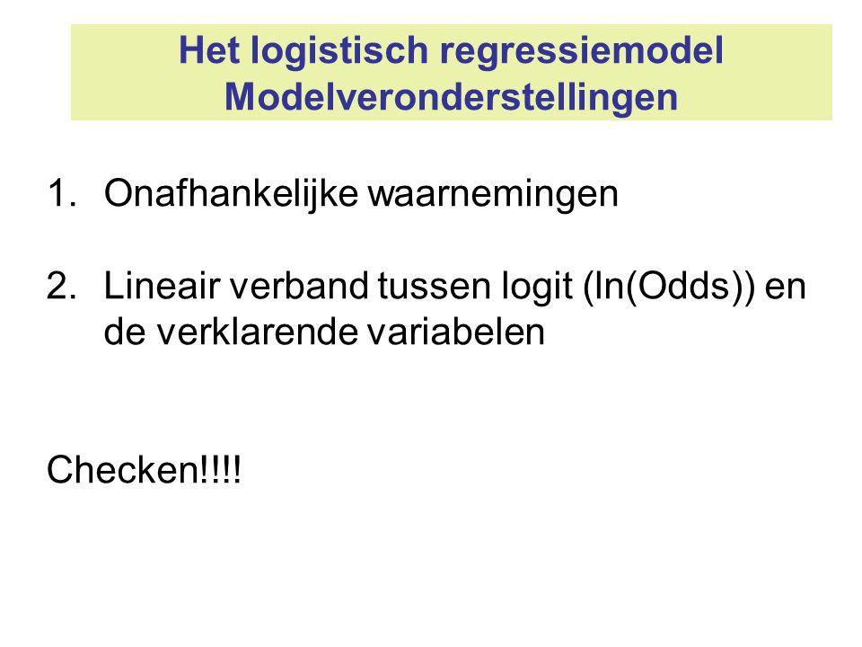 Het logistisch regressiemodel Modelveronderstellingen