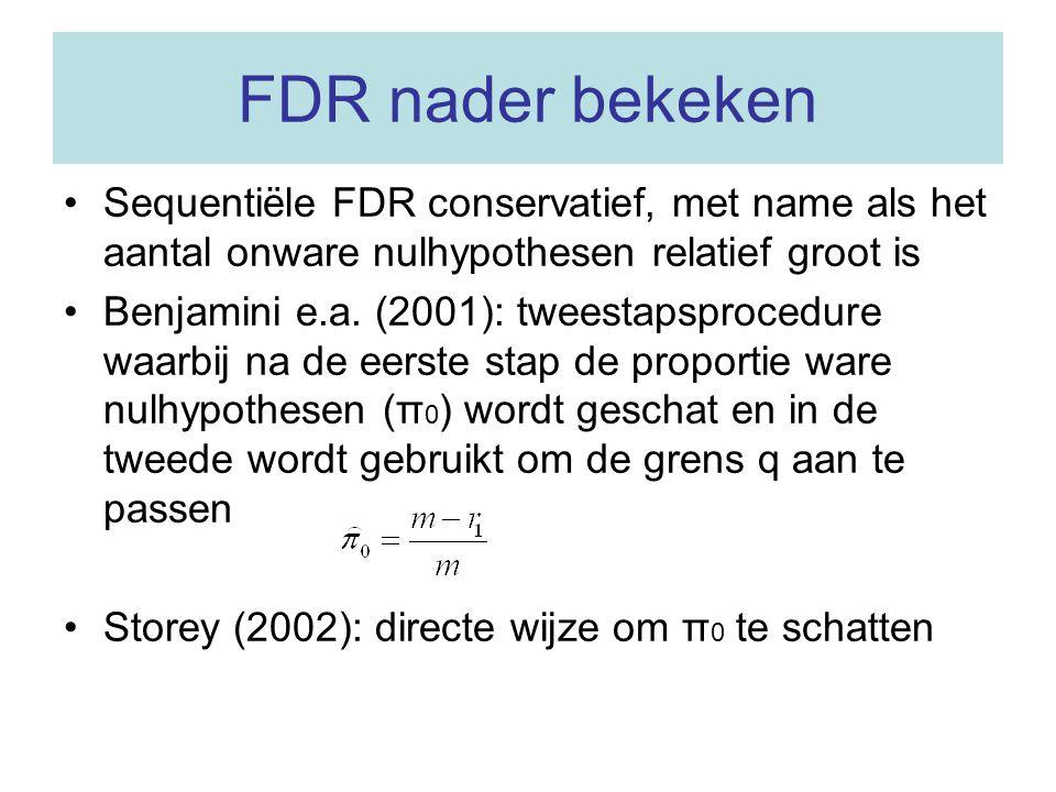 FDR nader bekeken Sequentiële FDR conservatief, met name als het aantal onware nulhypothesen relatief groot is.