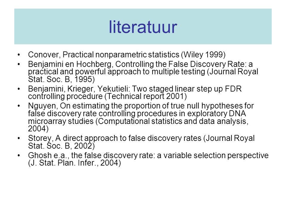 literatuur Conover, Practical nonparametric statistics (Wiley 1999)