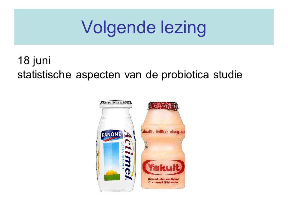 Volgende lezing 18 juni statistische aspecten van de probiotica studie