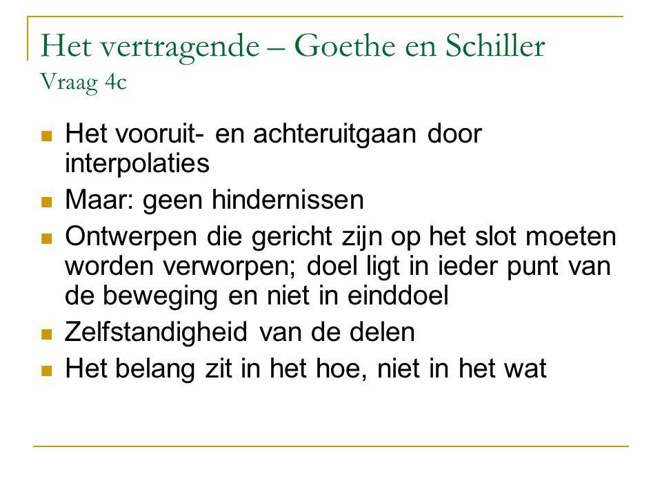 Het vertragende – Goethe en Schiller Vraag 4c