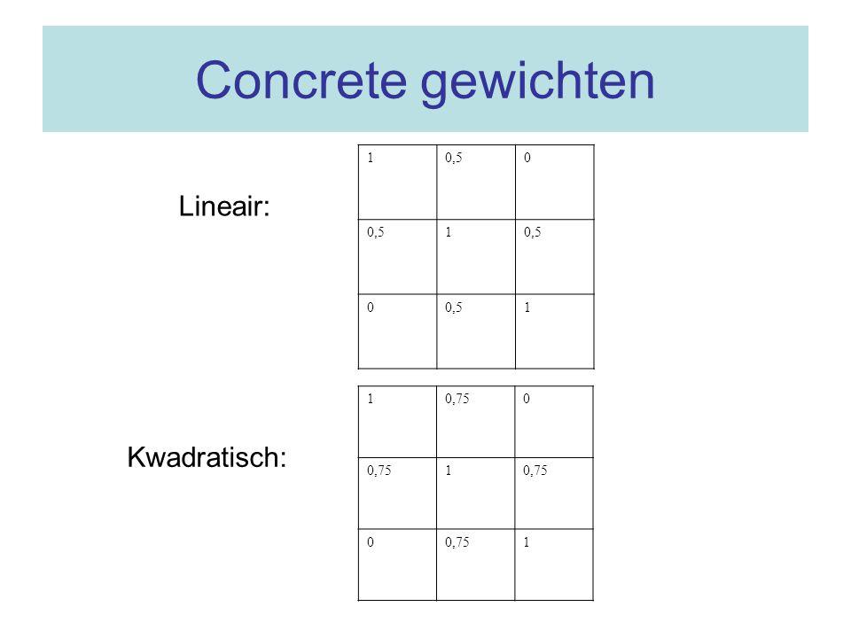 Concrete gewichten 1 0,5 Lineair: 1 0,75 Kwadratisch: