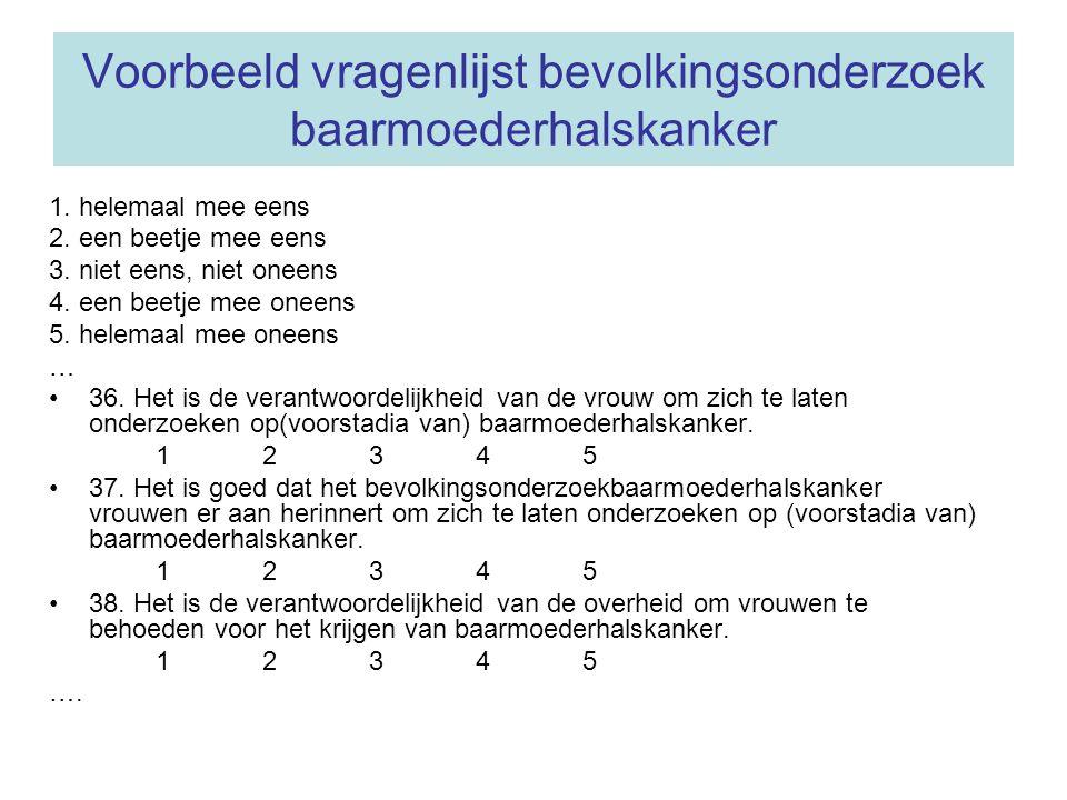 Voorbeeld vragenlijst bevolkingsonderzoek baarmoederhalskanker