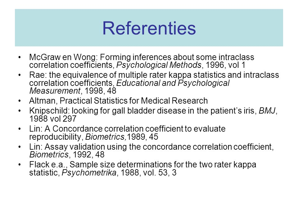 Referenties McGraw en Wong: Forming inferences about some intraclass correlation coefficients, Psychological Methods, 1996, vol 1.