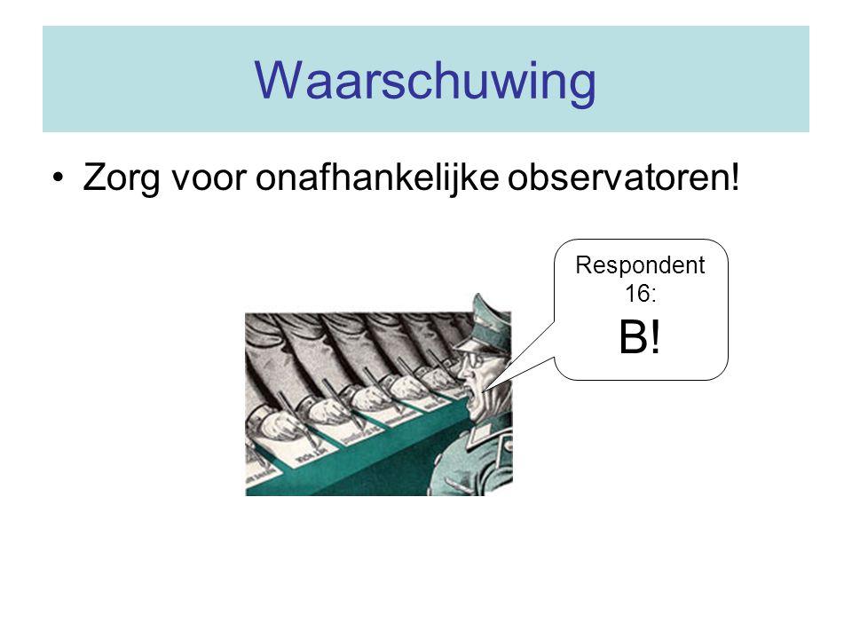 Waarschuwing Zorg voor onafhankelijke observatoren! Respondent 16: B!