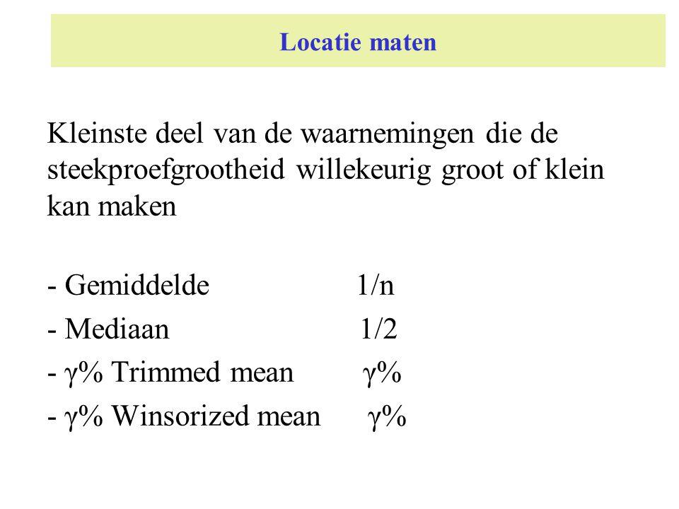 Locatie maten Kleinste deel van de waarnemingen die de steekproefgrootheid willekeurig groot of klein kan maken.