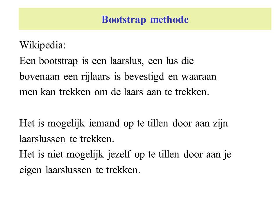 Bootstrap methode Wikipedia: Een bootstrap is een laarslus, een lus die. bovenaan een rijlaars is bevestigd en waaraan.