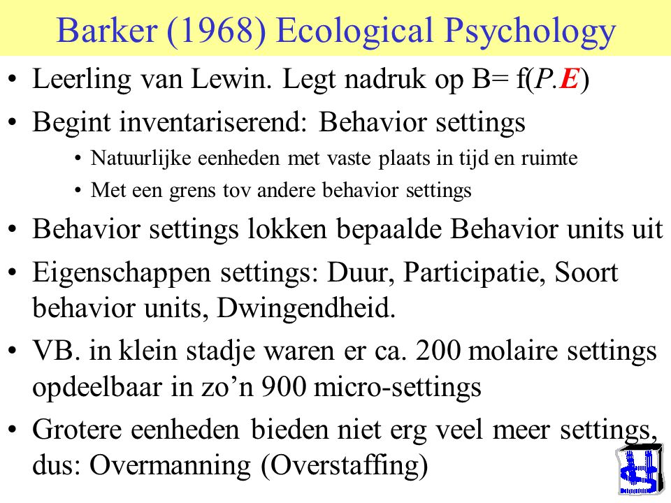 Barker (1968) Ecological Psychology