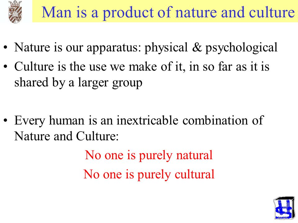 Man is a product of nature and culture