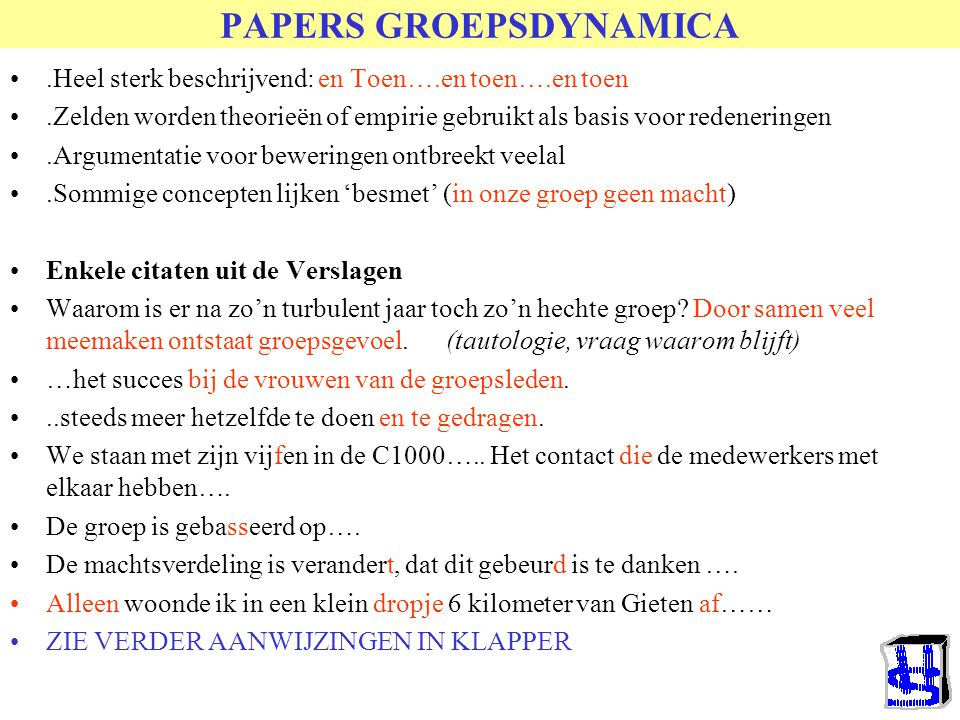 PAPERS GROEPSDYNAMICA
