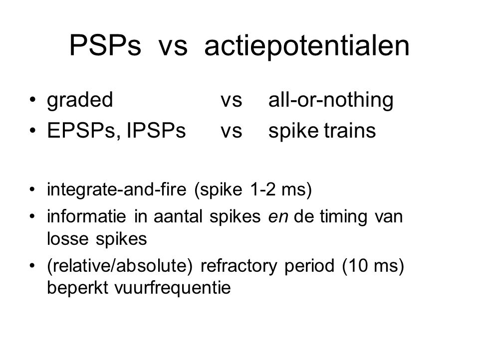 PSPs vs actiepotentialen