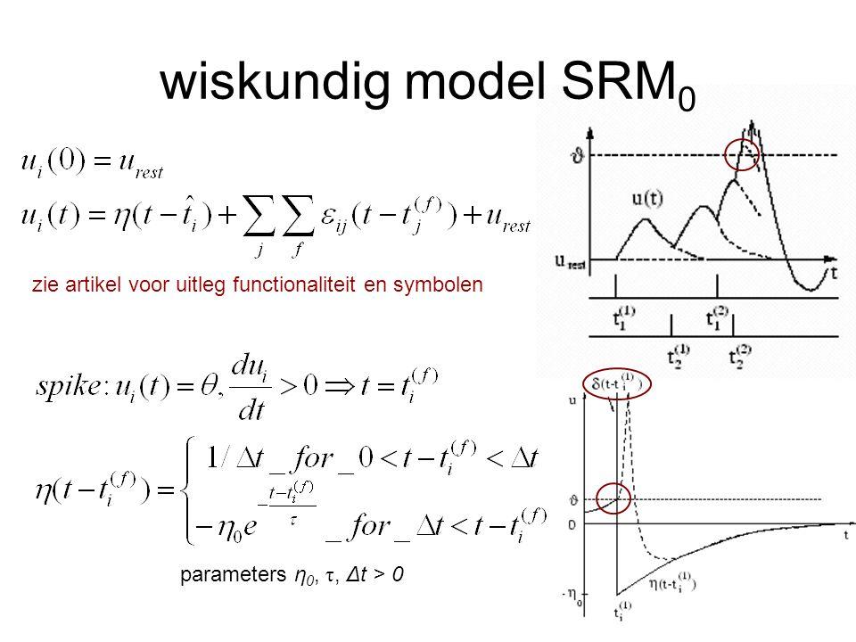 wiskundig model SRM0 zie artikel voor uitleg functionaliteit en symbolen. GEBRUIK HET BORD.