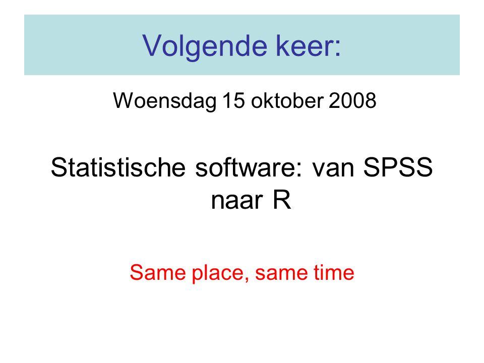 Statistische software: van SPSS naar R