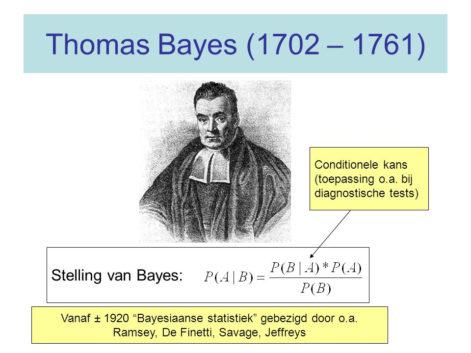 Thomas Bayes (1702 – 1761) Stelling van Bayes: Conditionele kans