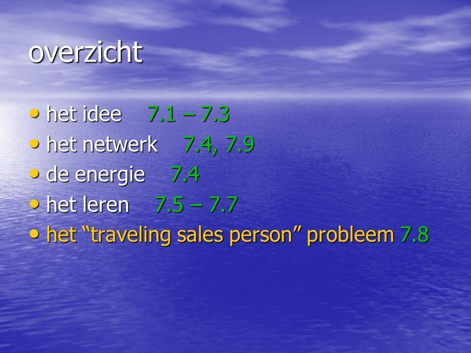 overzicht het idee 7.1 – 7.3 het netwerk 7.4, 7.9 de energie 7.4