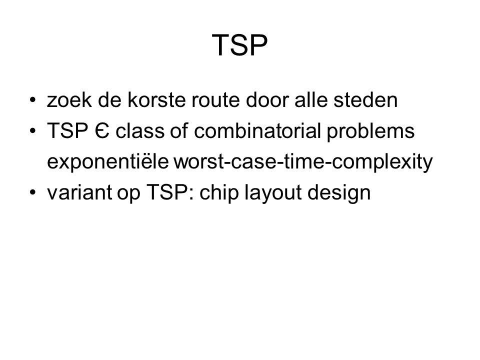 TSP zoek de korste route door alle steden