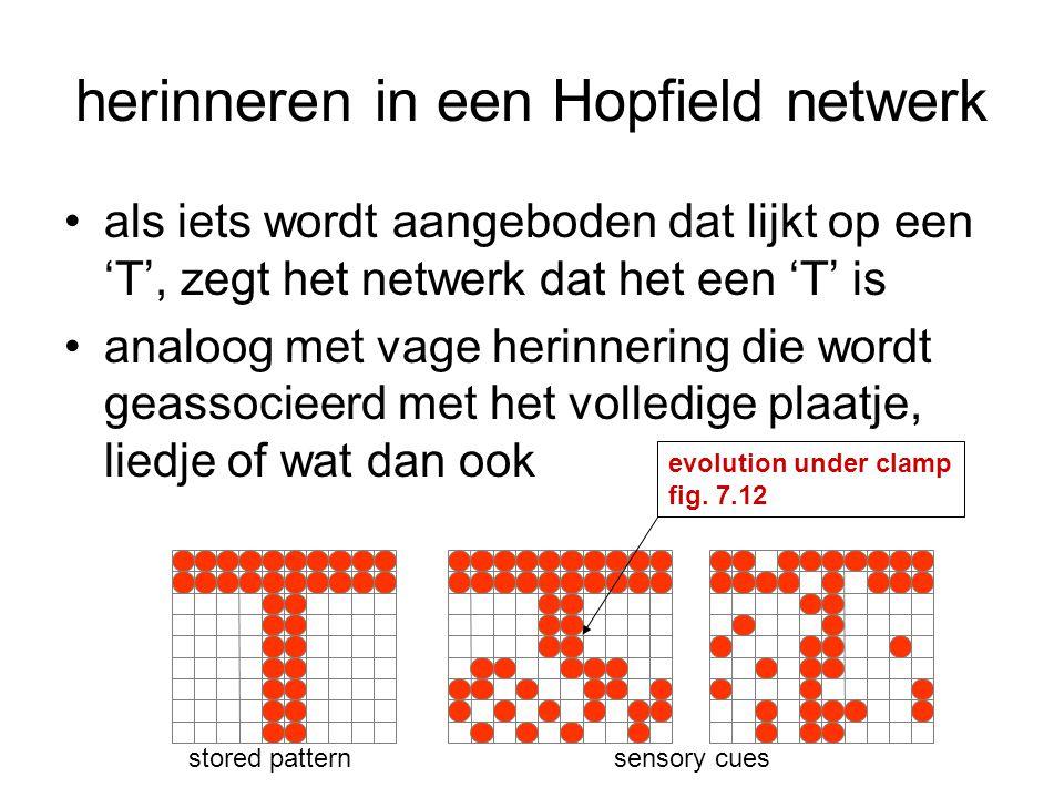 herinneren in een Hopfield netwerk