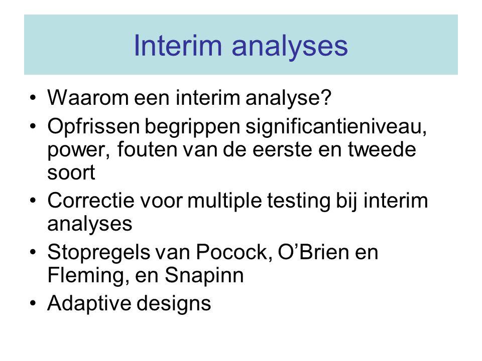 Interim analyses Waarom een interim analyse