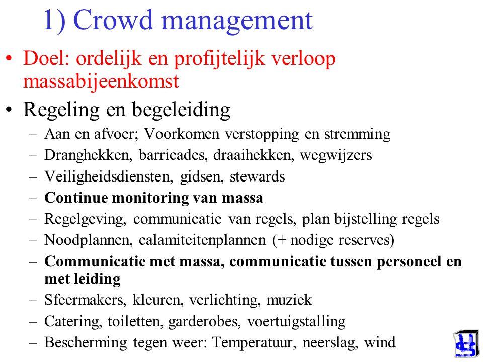 1) Crowd management Doel: ordelijk en profijtelijk verloop massabijeenkomst. Regeling en begeleiding.