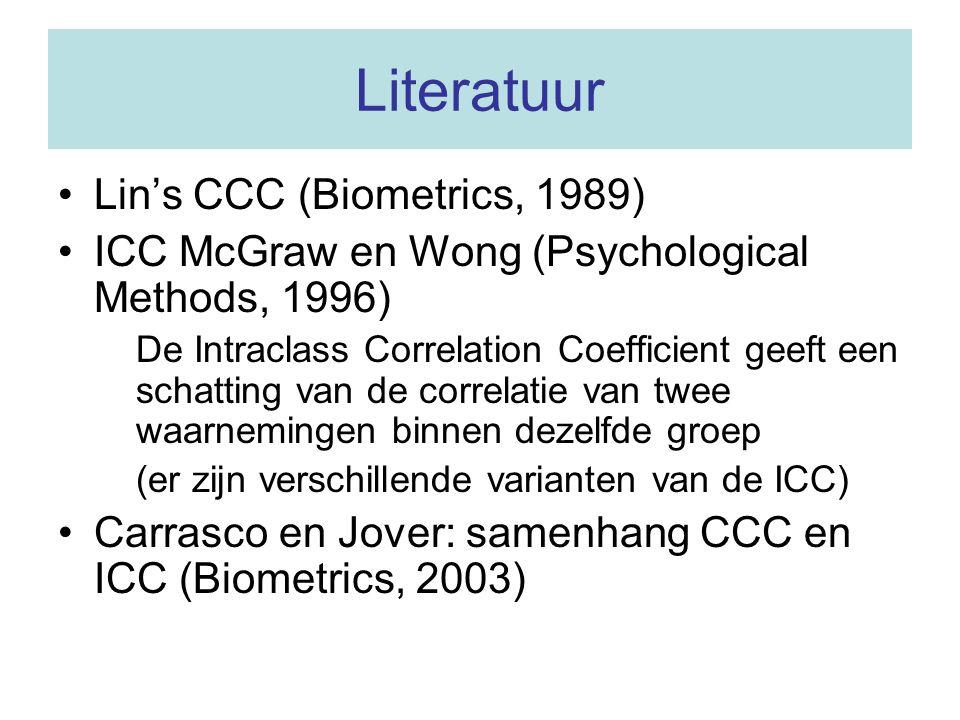 Literatuur Lin's CCC (Biometrics, 1989)