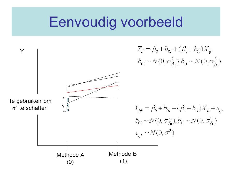 Eenvoudig voorbeeld Y Te gebruiken om ² te schatten Methode B