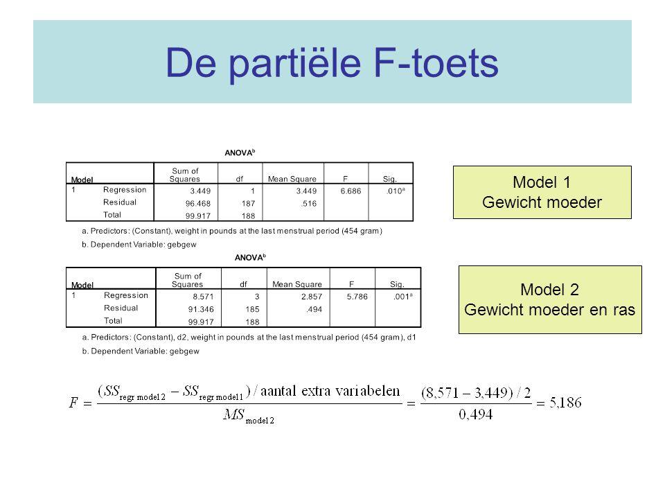 De partiële F-toets Model 1 Gewicht moeder Model 2