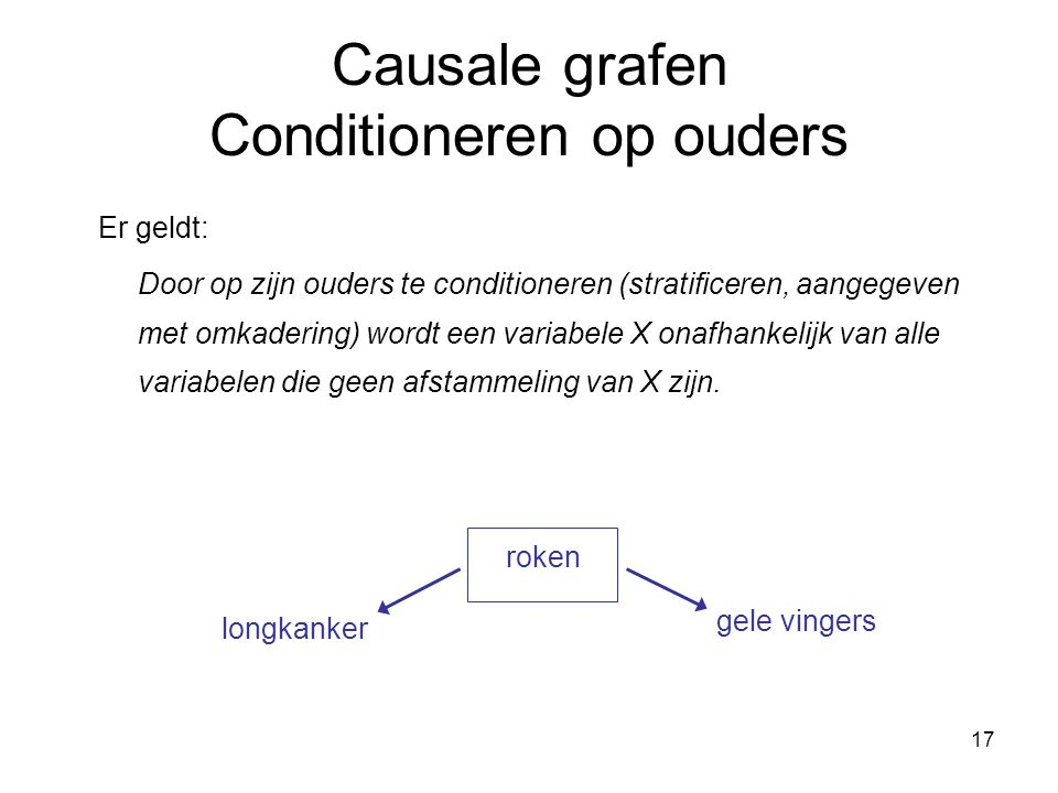 Causale grafen Conditioneren op ouders