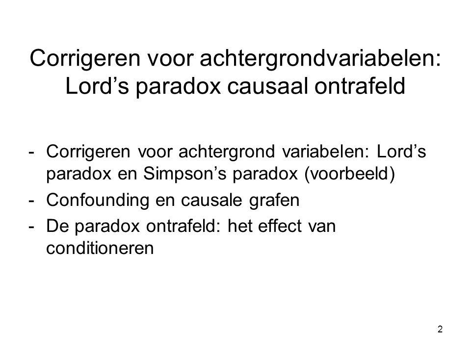 Corrigeren voor achtergrondvariabelen: Lord's paradox causaal ontrafeld