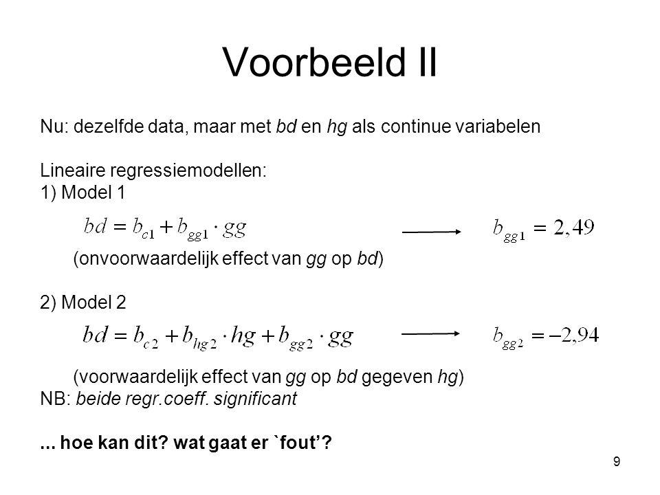 Voorbeeld II Nu: dezelfde data, maar met bd en hg als continue variabelen. Lineaire regressiemodellen: