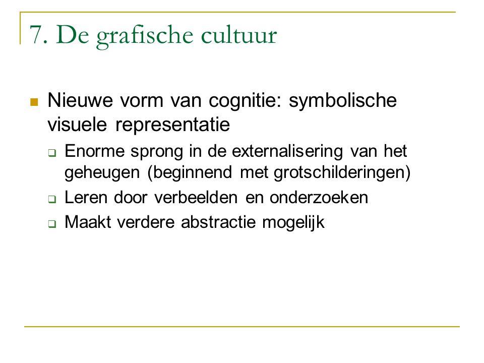 7. De grafische cultuur Nieuwe vorm van cognitie: symbolische visuele representatie.