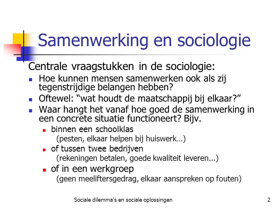 Samenwerking en sociologie
