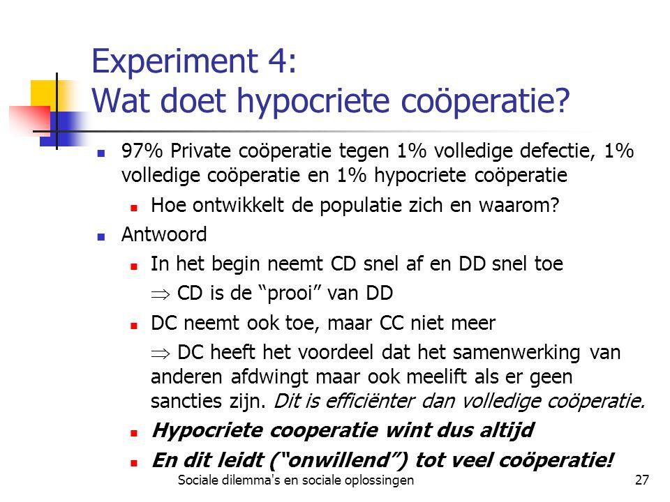 Experiment 4: Wat doet hypocriete coöperatie