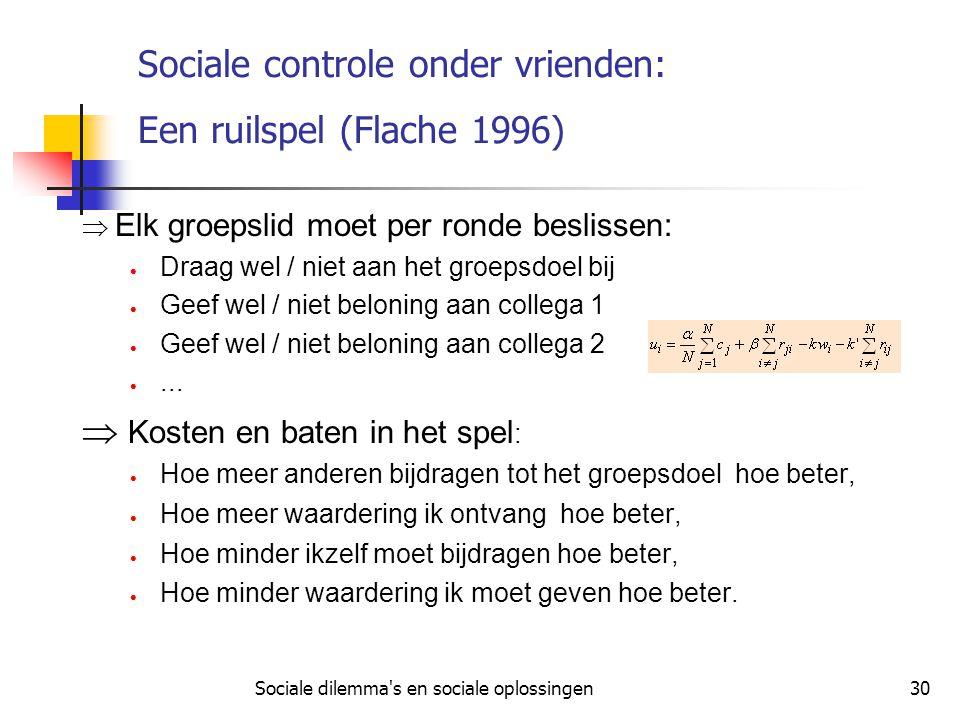 Sociale controle onder vrienden: Een ruilspel (Flache 1996)