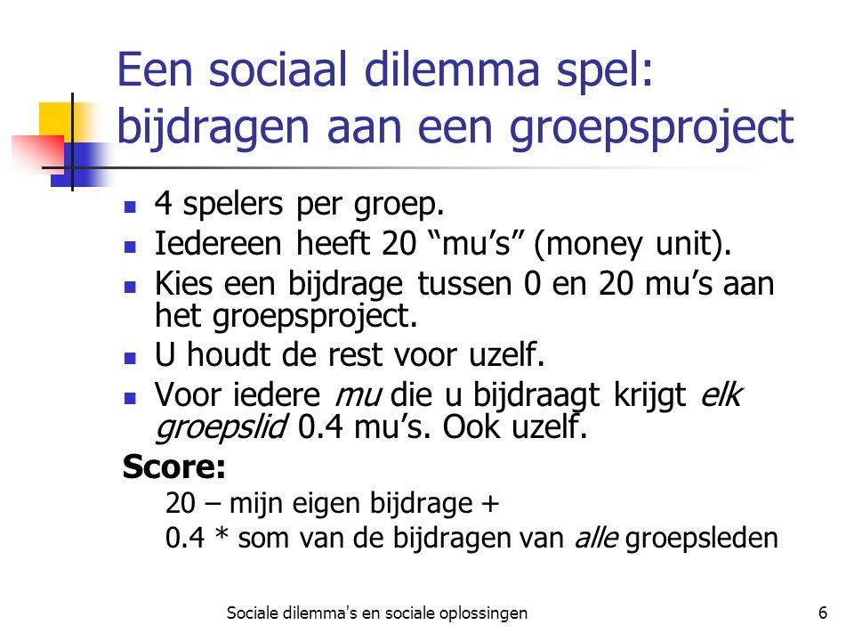 Een sociaal dilemma spel: bijdragen aan een groepsproject