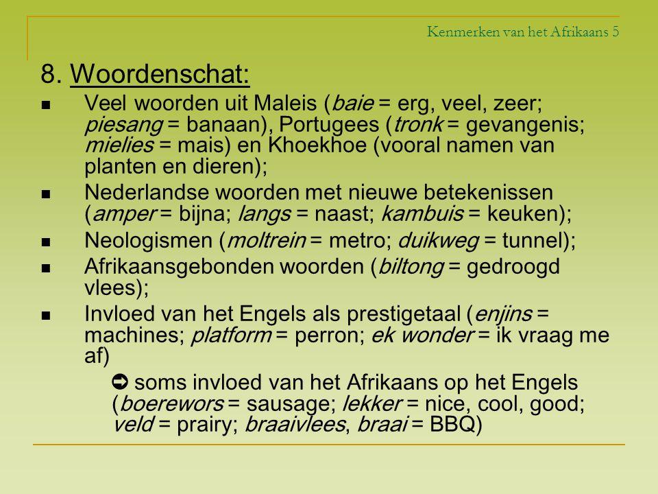 Kenmerken van het Afrikaans 5